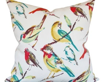Outdoor Bird Pillow Cover Richloom - Decorative Pillow - Throw Pillow - Both Sides - 12x16, 12x20, 14x18, 14x24, 16x16, 18x18, 20x20