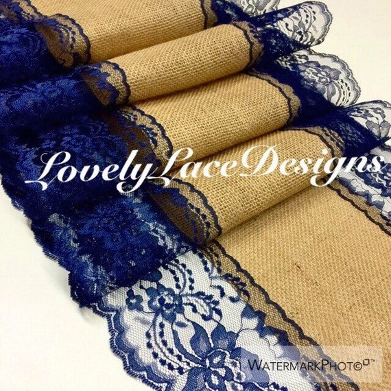 Navy blue burlap lace table runner 4ft 10ft by for 10 foot table runner