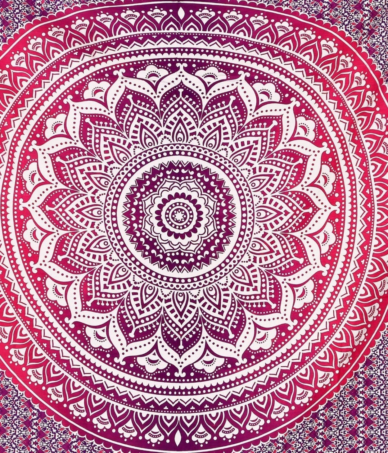 Mandala Bedsheet Tapestry Pink and Purple Throw by yuccadream