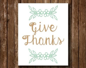 Give Thanks Simplistic Thanksgiving Printable