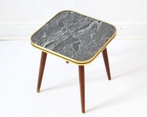 Vintage side table 50s wooden marbled flower stool small table end table coffee table vintage kidney table era
