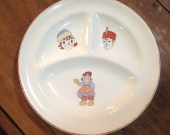 Vintage 1941 JOHNNY GRUELLE Raggedy Ann and Andy Ware Ceramic Sectional Child's Plate