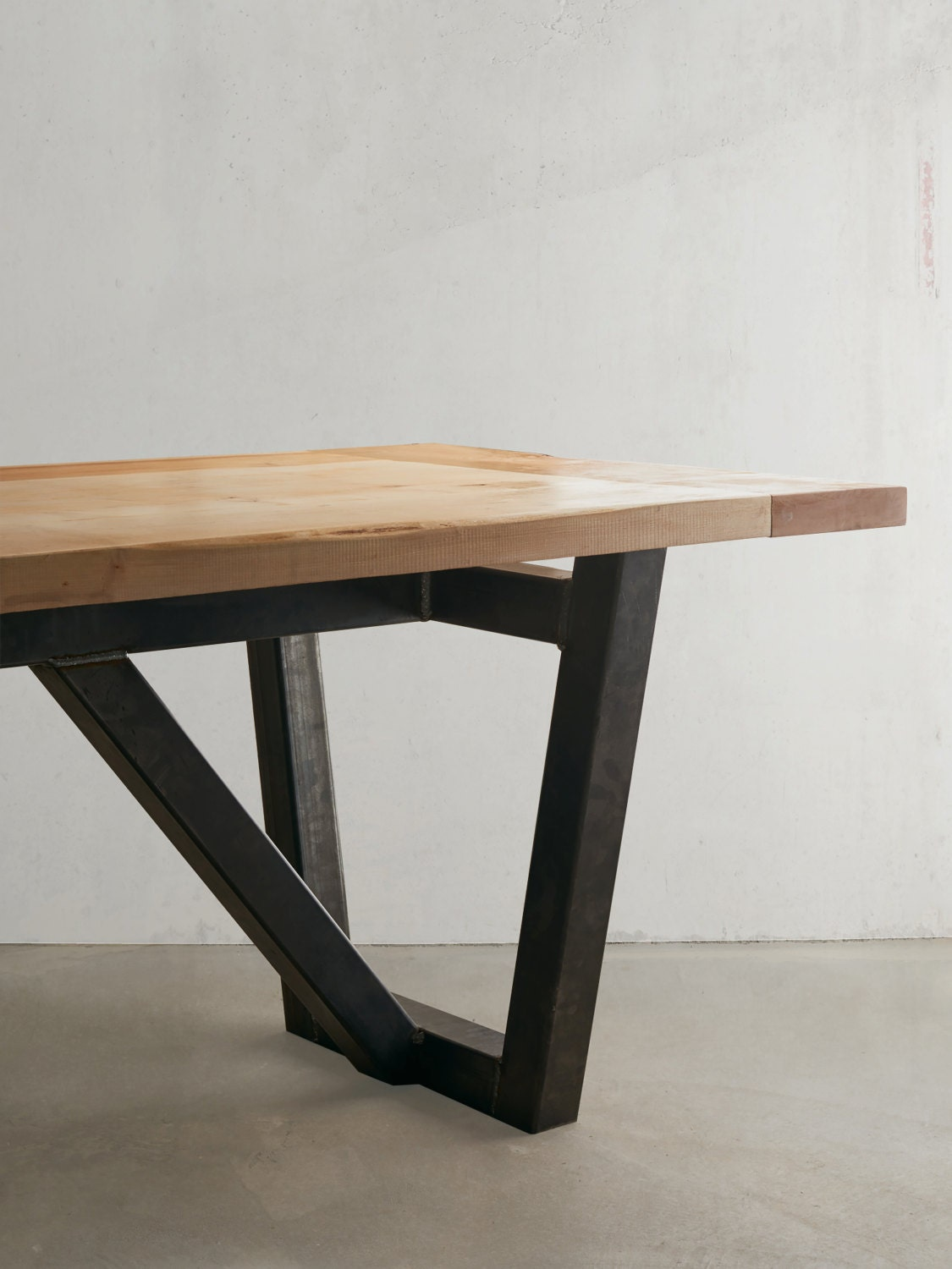 industrial modern 2 solid maple top dining table. Black Bedroom Furniture Sets. Home Design Ideas