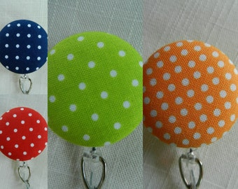 Swiss Dots ~ Retractable Badge Holder Reel, ID Name Holder,Security tag holder