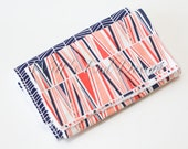 Modern Chenille Burp Cloths, Set of 2- Navy Herringbone and Shattered Pink and Navy