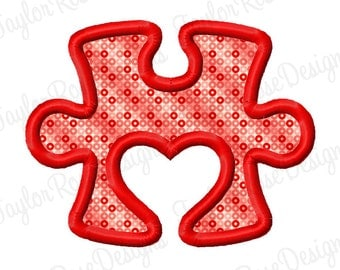 Heart Puzzle Piece Applique Machine Embroidery Design 4x4 5x7 6x10 Autism Awareness INSTANT DOWNLOAD