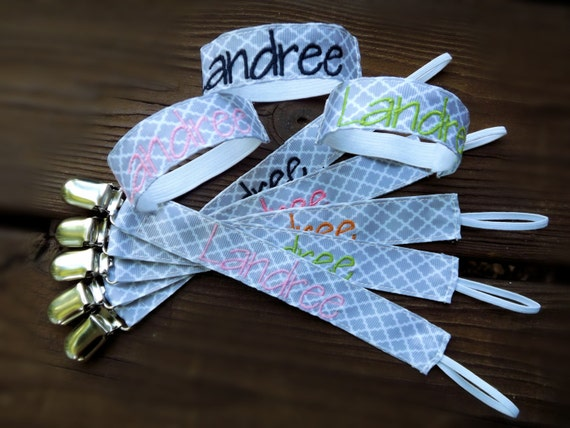 items similar to monogrammed pacifier clip  holder  u0026 bottle  sippy cup name bands personalized in