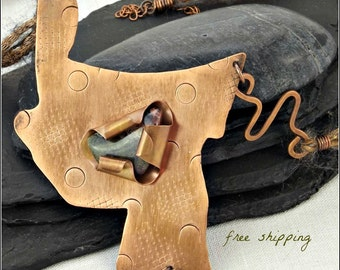 Unakite in Fold Formed Bezel on Textured Oxidized Copper Abstract Pendant with Multi-Strand Cord
