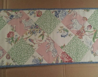 Green Pink Blue Flower Leopard and Lion on Cream Table Runner     *** FREE SHIPPING***