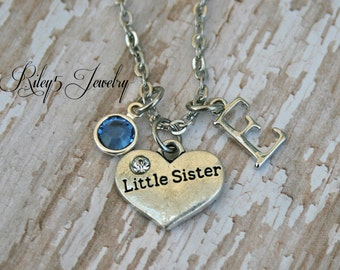 Personalized Little sister Necklace with Your Initial letter and Birthstone.