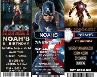 Avengers Captain America Iron ManBirthday Party Invitation