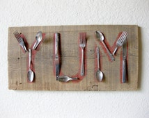 Reclaimed Barn Wood and Salvaged Metal Fork and Spoon YUM wall art sign