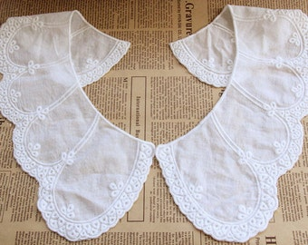 1 Pair Lace Collar White Cotton Fabric Embroidery Stick Neckties Applique