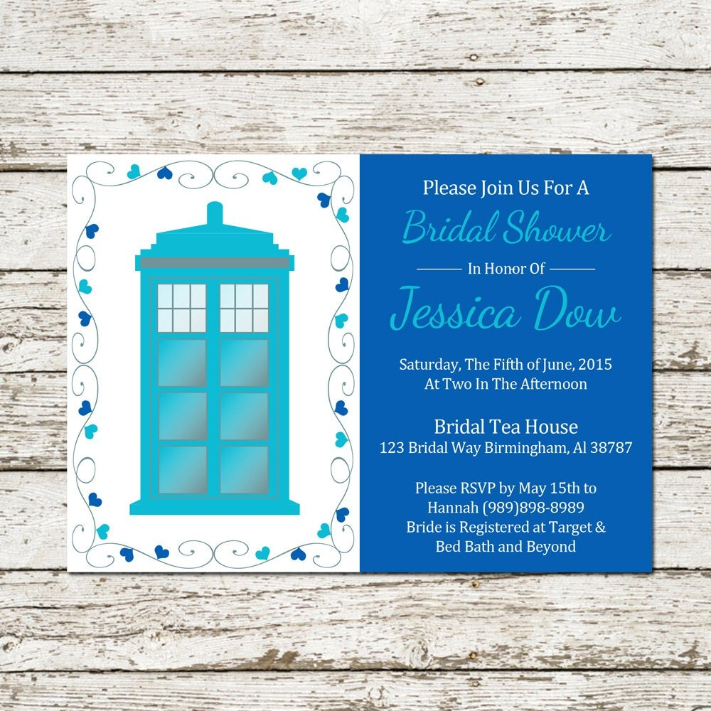 doctor who bridal shower invitation wedding by sweetteaandacactus