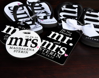 MR and MRS Bridal Flip Flops Personalized, Mr. and Mrs. Honeymoon Suite Personalized Bride and Groom Flip Flops, Bag Tags, Door Hanger