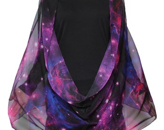 Beautiful Nebula Galaxy little Twinkle Stars Print Chiffon  Infinity Scarf Dark  Purple