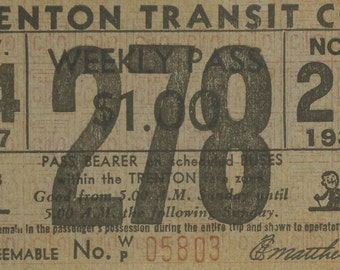1937 Trenton Transit Co - New Jersey Bus Line - Weekly Pass (278)
