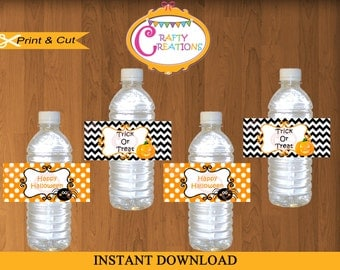 Printable Halloween Water Bottle Labels -  Halloween Party - Halloween Decorations - Orange - Black - INSTANT DOWNLOAD - CraftyCreationsUAE