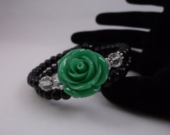 Large green resin rose memory wire bracelet