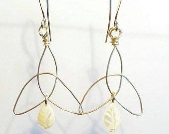 Cream Shell Earrings, Celtic Earrings, Cream earrings, Leaf earrings, Triskelion earrings, Gemstone earrings, Silver earrings