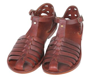 URANOS:  Woven Leather Handmade leather sandal custom size available