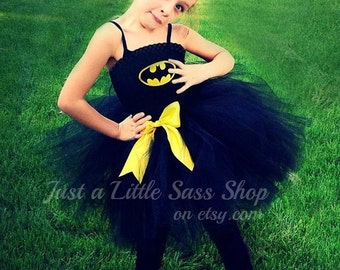 Batman Costume Girls Tutu Tulle Dress