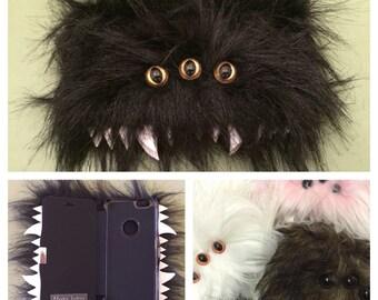 Heebie Jeebie Black Furry Phone Flip Case