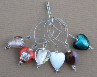 Hearts of Many Colours Knitting Stitch / Place Markers