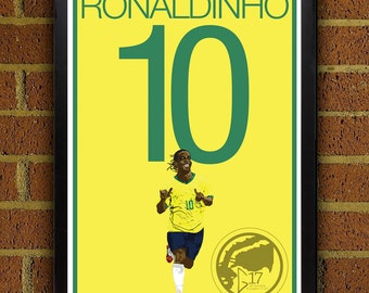 Ronaldinho 10 Poster - Brazil - World Cup Soccer Poster- 8x10, 13x19, poster, art, wall decor, home decor, brasil