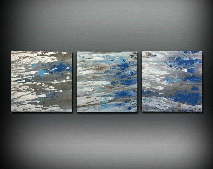 ORIGINAL Art Painting Acrylic Painting Abstract Painting Small Wall Art Blue Painting Triptych Wall Hanging Canvas Art 12 x 36