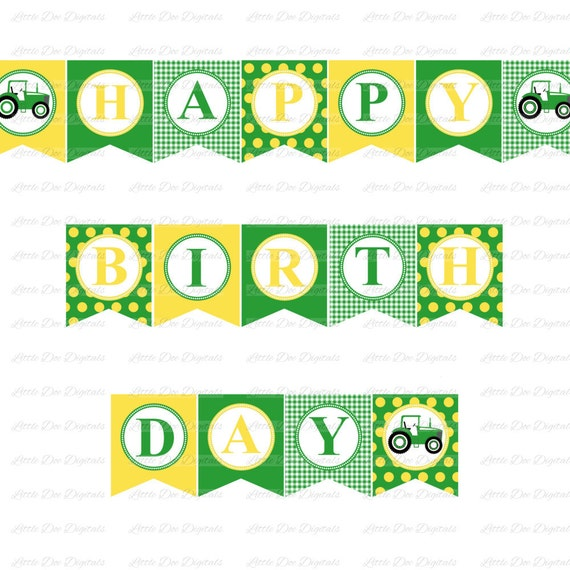 green and yellow happy birthday banner with green tractor