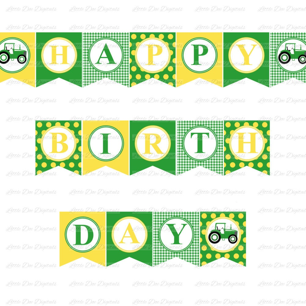 green and yellow happy birthday banner with by