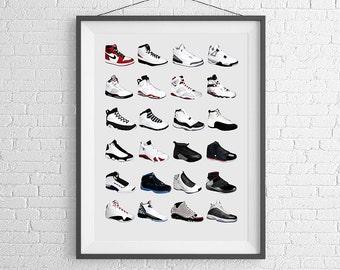 Nike Air Jordans - Jordan Poster - Nike Poster - Michael Jordan Poster - Jordan Wall Art - Shoe Art - Nike Jordan Poster - Nike Sneakers -