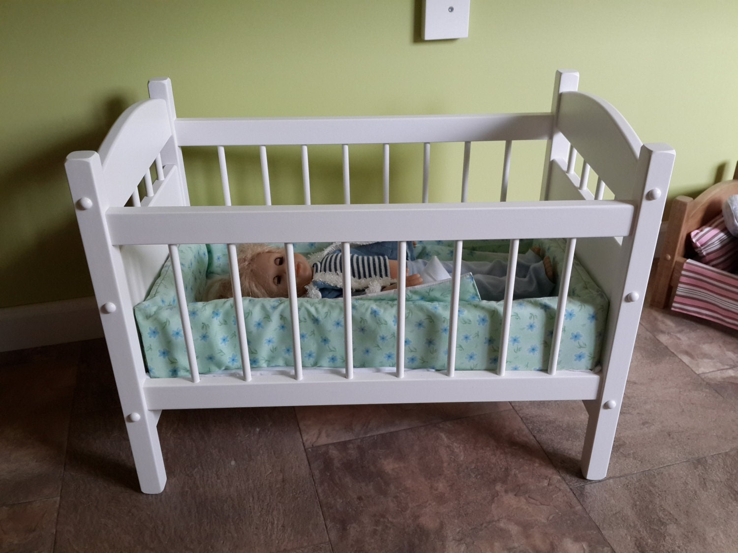 Reborn Baby Doll Crib Bed Wooden Toy Furniture By
