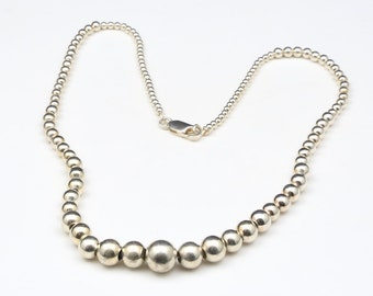 "Vintage Sterling Silver Graduated Bead Necklace 17"" Wearable Length"