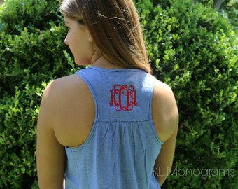 Monogrammed Striped Racerback Tank Top