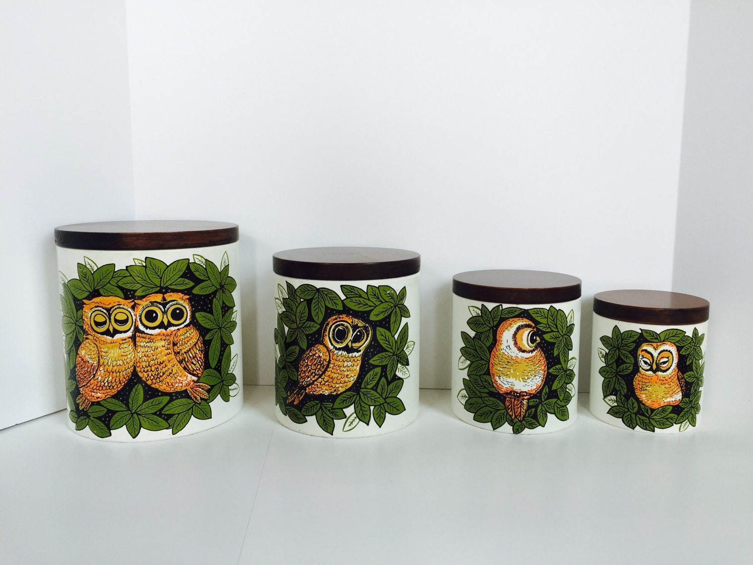 vintage owl kitchen cannisters 70 39 s decor by thisgirlsjunk