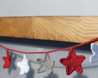 Crochet Star Christmas Garland