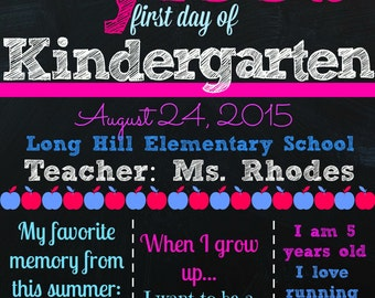First Day of Kindergarten Chalkboard - Custom - Digital - Any Grade - First Day of School Sign - First Day Kindergarten - Preschool - Girl