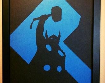Thor silhouette wall art