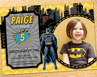 Batman Inspired Birthday Party Photo Invitation - Customizable - Printable - DIY