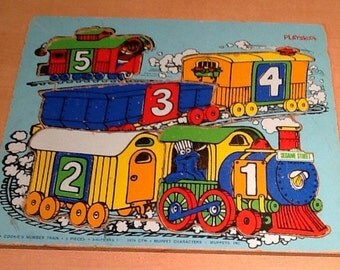 """Vintage 1974 Playskool """"Cookie's Number Train"""" 5 piece puzzle, 3-6 Years by Muppets Inc. Great Sesame Street item with fun graphics and colo"""