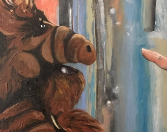 ALF Portrait Original Acrylic Painting on Cradled Wood Panel - READY to HANG!