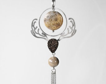 0169 -  original sterling silver modern metalwork necklace with chocolate quartz