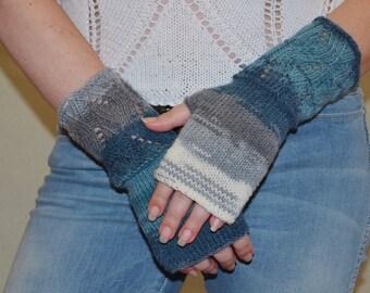 Knit Fingerless Gloves Mittens grey blue white arm wrist warmers