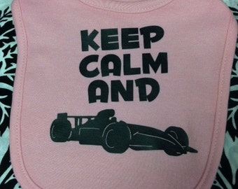Keep calm and race race car formula baby infant bib new color choice skater great gift idea boy or girl