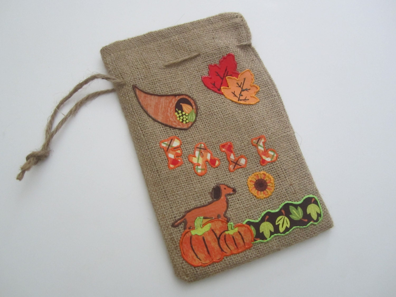 Fall decor burlap door hanger fall burlap bag by polkadoxies for Decorative burlap bags