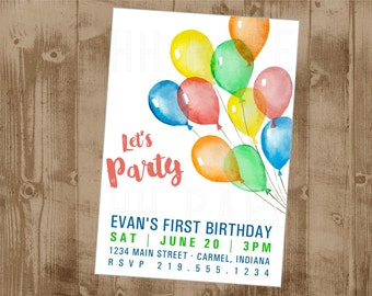 Balloons Primary Color No Theme Printable Birthday Invite - watercolors