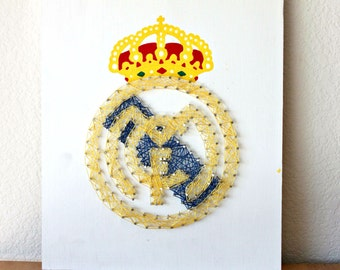 Real Madrid String Art, Real Madrid Party, Soccer Decor, Soccer Gifts,