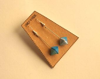 Dangle geometric origami earrings three tones